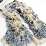 160*70cm High quality Blue and White Porcelain Style Thin Section the Silk Floss Women Scarf Shawl = 1958152708