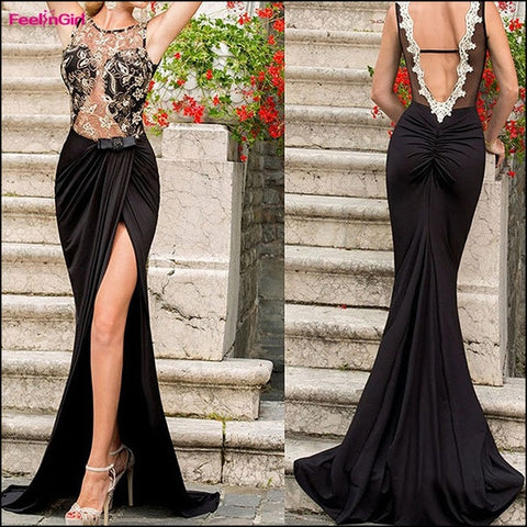 FeelinGirl Elegant Party Dresses Women Floor-Length Black Lace Sexy Backless High Split Summer Long Maxi Translucent Evening Prom Dress = 1696964484