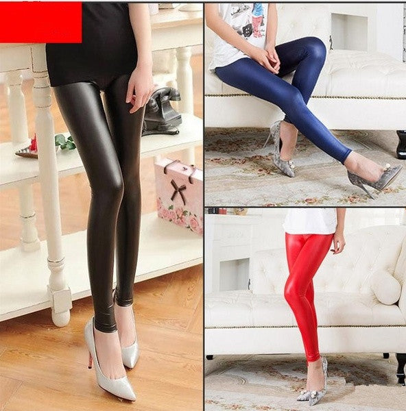 2015 New Fashion women's Sexy Skinny Faux Leather Leggings Pants Elastic = 1705660036