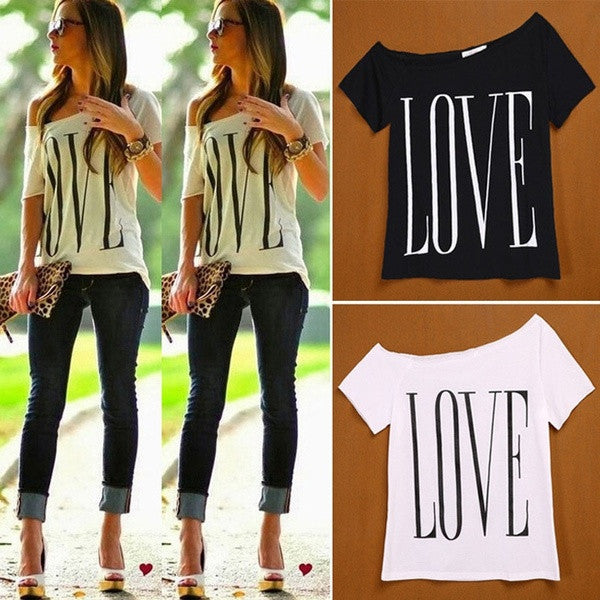 c5dc0d4340097d Women New Fashion Sexy Big Scoop Neck Letter LOVE Print Loose Short Sleeves  Shirt Casual T ...