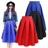 2015 Pleated Saias Fashion Women's Solid Black Plain Casual Vintage Midi Skirt = 1782337412