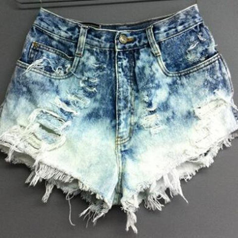 Summer Women Shorts Leisure High Waist Denim Hole Fringe Jeans = 1782436100