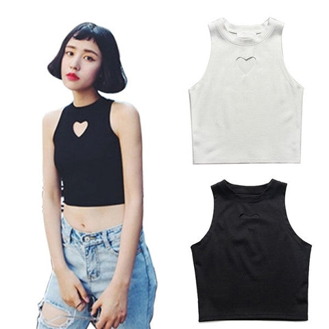 Women Summer Fashion Heart Cut Crop Top Short Cami Tank Tops Sexy Party Club Tee = 1956692420