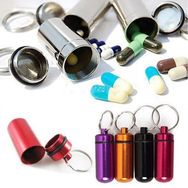 1PC New Aluminum Pill Box Case Bottle Holder Container Keychain Waterproof Medicine Storage Random Color = 1645719172