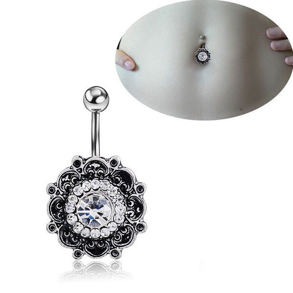 Retro Flower Body Piercing Jewelry Navel Ring Belly Button Ring Crystal Rhinestone Barbell Bar (With Thanksgiving&Christmas Gift Box)= 1645689476