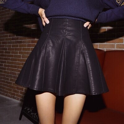 15 new Korean version of the fall and winter was thin waist Slim black leather skirt a word pu small pleated skirt female bust = 1753561220