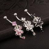316L Steel 14G Women Butterfly Belly Button Piercing Ring Rhinestone Belly Bar Navel Ring = 1651242820