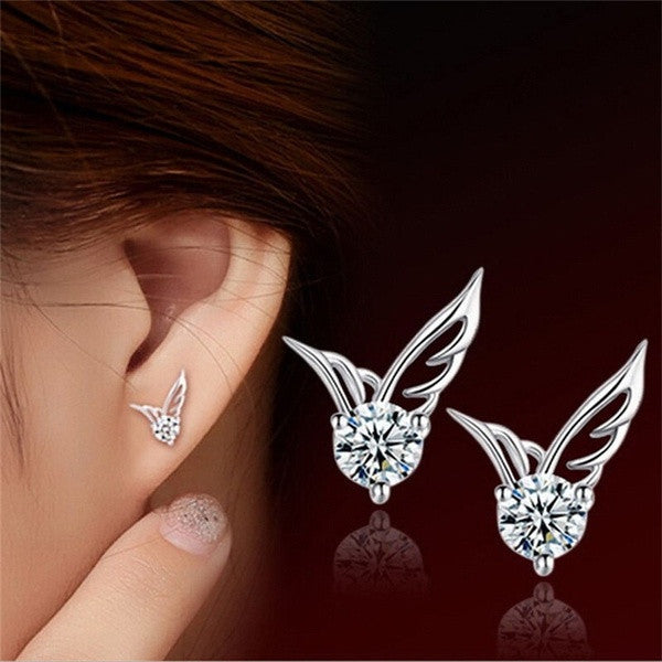 1Pair Fashion Womens Silver Plated Jewelry Angel Wings Crystal Ear Stud Earrings = 1715209092