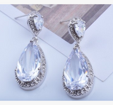 Dear Deer White Gold Plated Classic Wedding Teardrop CZ Dangle Earrings