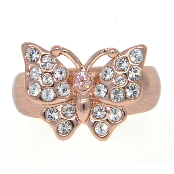 Dear Deer Rose Gold Plated Butterfly CZ Pave Cocktail Ring
