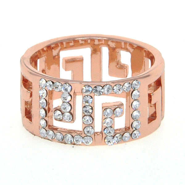 Dear Deer Rose Gold Plated Amazing Maze CZ Pave Band Ring