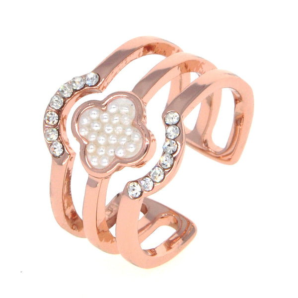Dear Deer Rose Gold Plated Faux Pearl CZ Pave Floral Open End Wide Band Ring