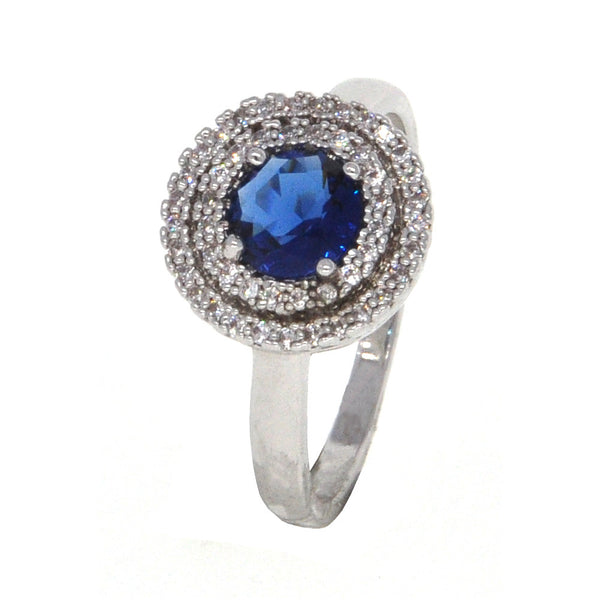 Dear Deer White Gold Plated Classic Blue CZ Cocktail Ring