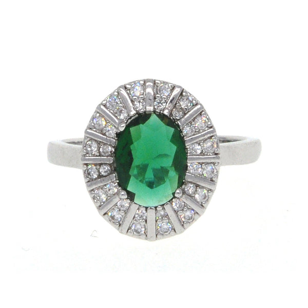 Dear Deer White Gold Plated Green CZ Classic Round Cocktail Ring