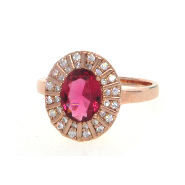 Dear Deer Rose Gold Plated Red CZ Classic Round Cocktail Ring