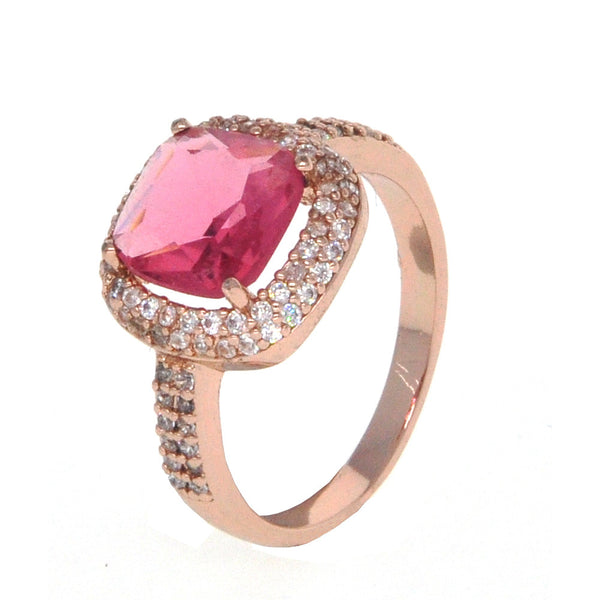Dear Deer Rose Gold Plated Red CZ Classic Square Cocktail Ring