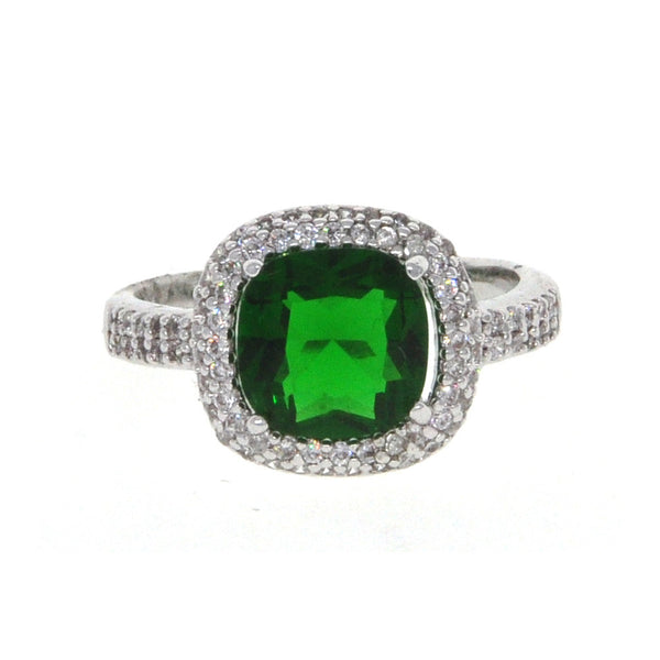 Dear Deer White Gold Plated Green CZ Classic Square Cocktail Ring