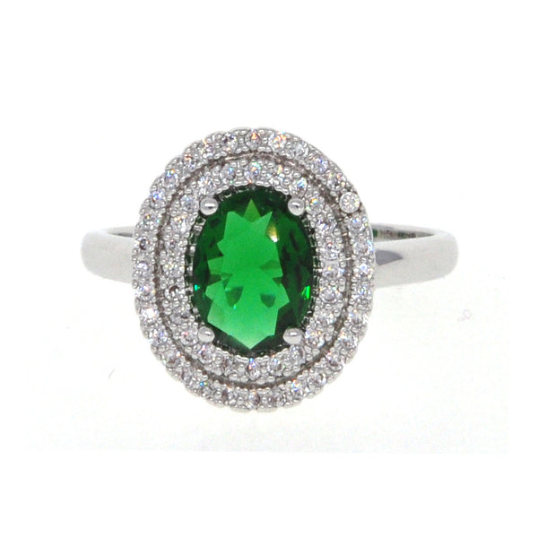 Dear Deer White Gold Plated Green CZ Classic Round Oval Cocktail Ring