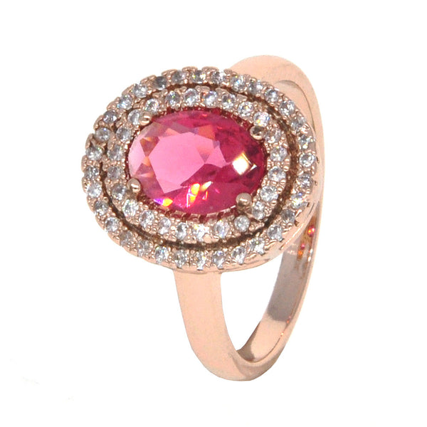 Dear Deer Rose Gold Plated Red CZ Classic Round Oval Cocktail Ring