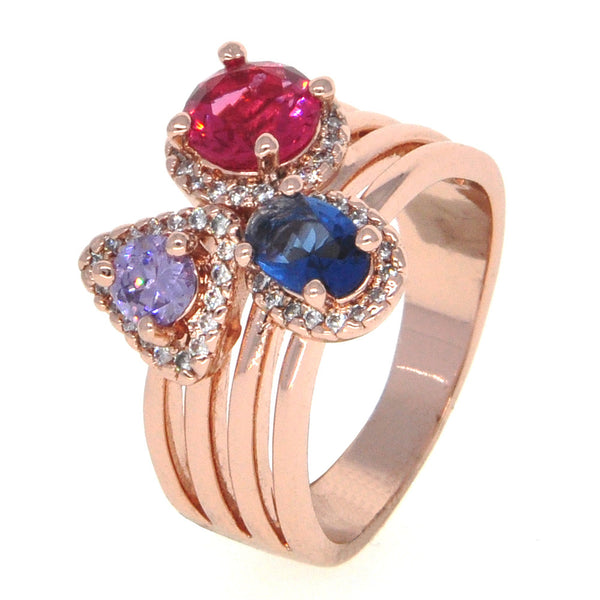 Dear Deer Rose Gold Plated Multicolor CZ Cocktail Ring
