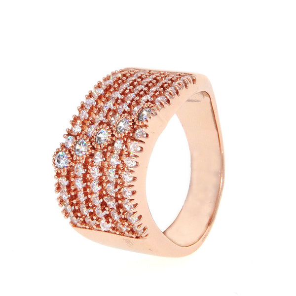 Dear Deer Rose Gold Plated CZ Pave Wide Band Cocktail Ring