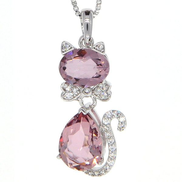 Dear Deer White Gold Plated Ruby Cat Swarovski Elements Pendant Necklace