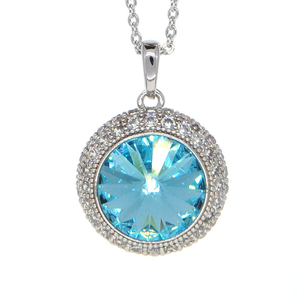 Dear Deer White Gold Plated Swarovski Elements Classic Ocean Blue Round CZ Pave Pendant Necklace