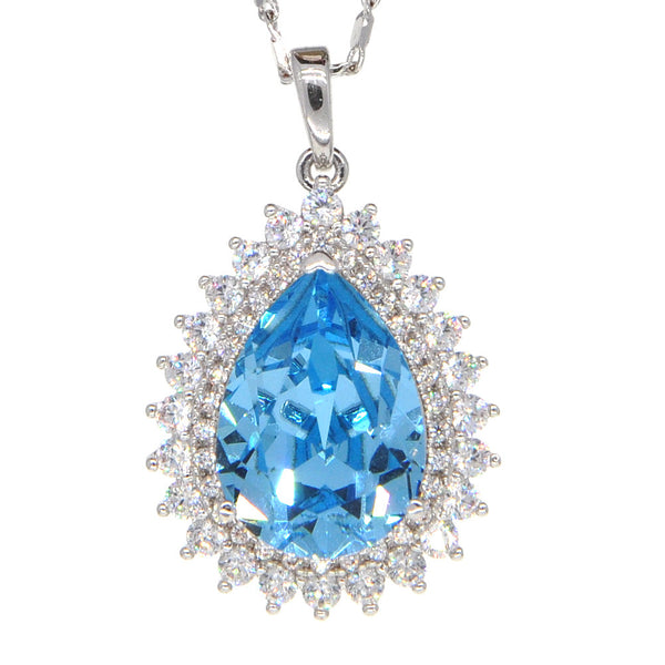Dear Deer White Gold Plated Swarovski Elements Classic Blue Teardrop CZ Pendant Necklace