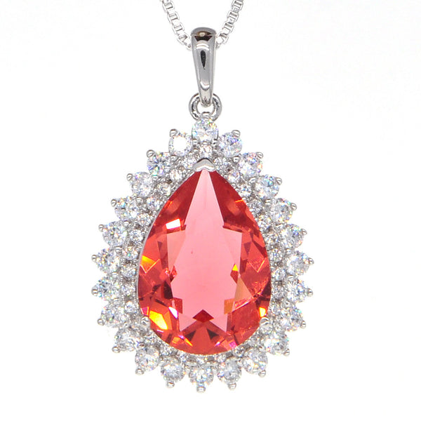 Dear Deer White Gold Plated Swarovski Elements Classic Red Teardrop CZ Pendant Necklace