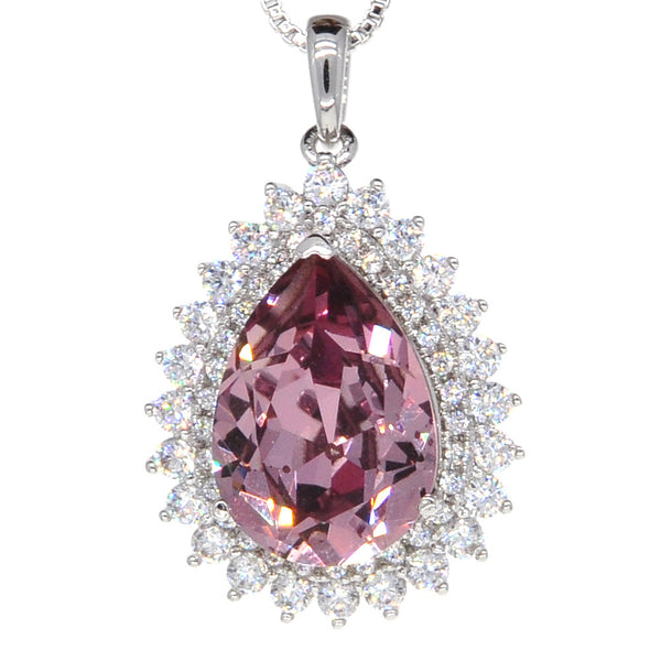 Dear Deer White Gold Plated Swarovski Elements Classic Purple Teardrop CZ Pendant Necklace