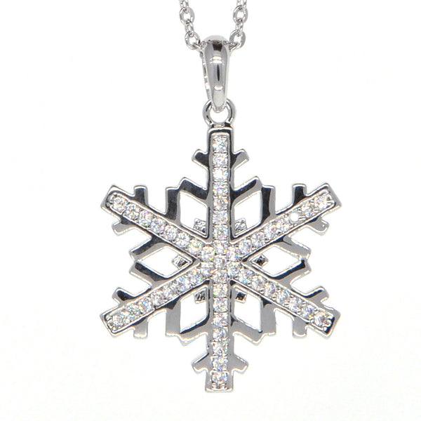 Dear Deer White Gold Plated Christmas Snowflake Cubic Zirconia Pendant Necklace