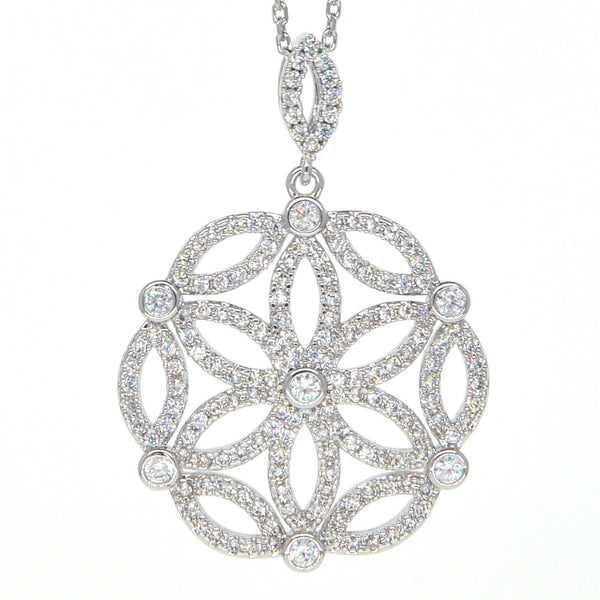 Dear Deer White Gold Plated Cubic Zirconia Intricate Floral Pendant Necklace