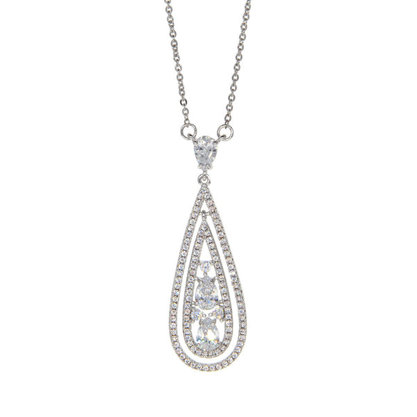Dear Deer White Gold Plated Double Teardrop CZ Pave Pendant Necklace