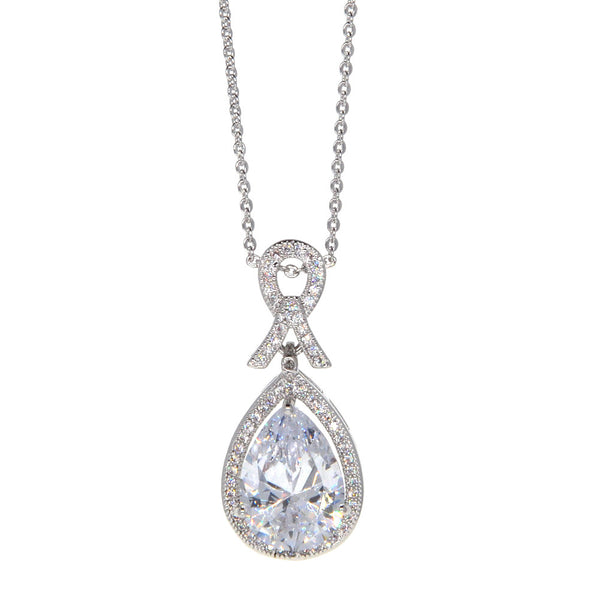 Dear Deer White Gold Plated Classic Ribbon Teardrop CZ Pendant Necklace