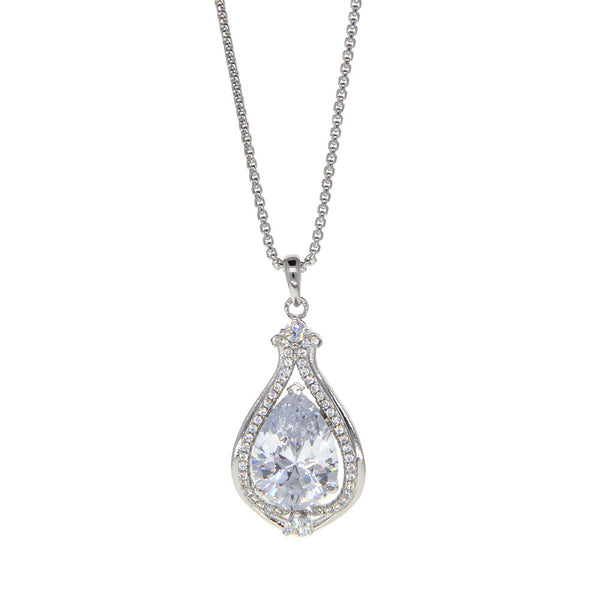 Dear Deer White Gold Plated Teardrop Inverted Heart CZ Pave Pendant Necklace