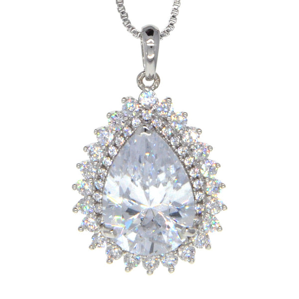 Dear Deer White Gold Plated Classic Teardrop CZ Pave Pendant Necklace