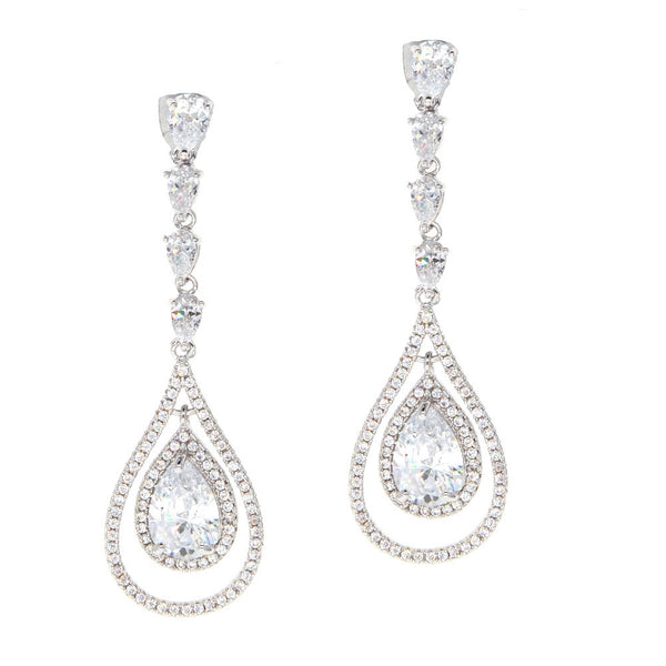 Dear Deer White Gold Plated Classic Pear Shaped Drop Pierced CZ Long Earrings