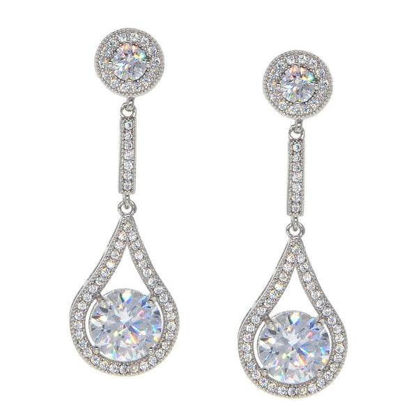 Dear Deer White Gold Plated Classic Pear-Shaped Drop CZ Earrings