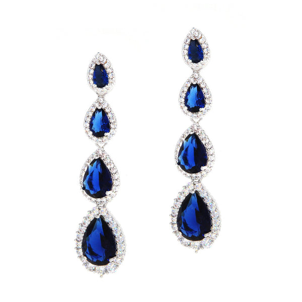 Dear Deer White Gold Plated Classic 4 Blue Sapphire Pear-Shaped Drop Pierced CZ Long Earrings