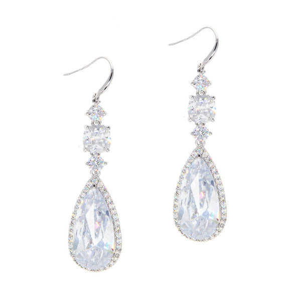 Dear Deer White Gold Plated Classic CZ Dangle Earrings