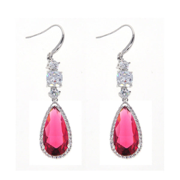 Dear Deer White Gold Plated Classic Ruby Red CZ Dangle Earrings