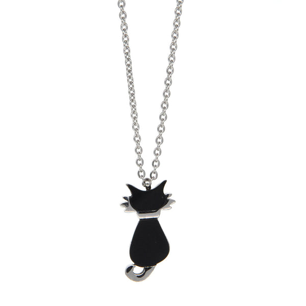 Dear Deer Stainless Sliver Tone Black Cat Necklace Charm Pendant Necklace