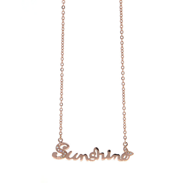 Dear Deer Stainless Steel Sunshine Cubic Zirconia Pendant Necklace Rose Gold Tone