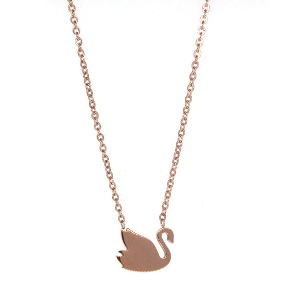 Dear Deer Stainless Steel Swan Pendant Necklace Rose Gold Tone
