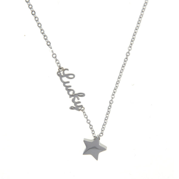 Dear Deer Stainless Steel Lucky Star Pendant Necklace Silver Tone