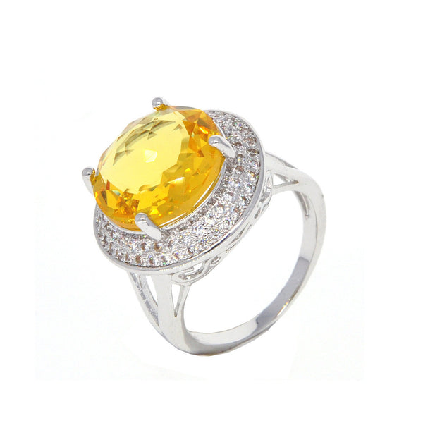 Dear Deer White Gold Plated Yellow Cubic Zirconia Round Classic Cocktail Ring