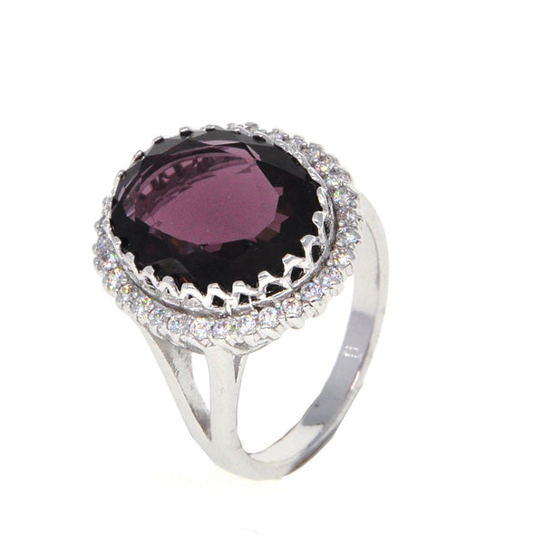 Dear Deer White Gold Plated Purple Cubic Zirconia Round Classic Cocktail Ring