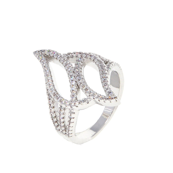 Dear Deer White Gold Plated Double Leaves Leaf CZ Pave Cocktail Ring