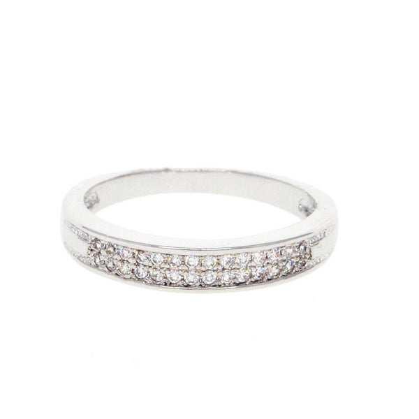 Dear Deer White Gold Plated Cubic Zirconia Pave Band Ring