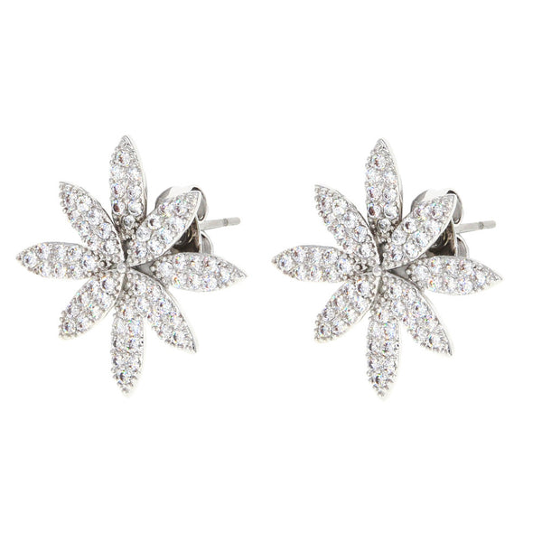 Dear Deer White Gold Plated Floral Leaves Crystal Pave Stud Earrings